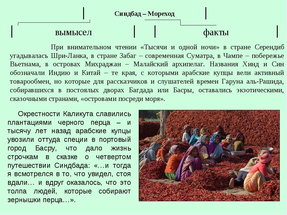 При внимательном чтении «Тысячи и одной ночи» в стране Серендиб угадывалась...