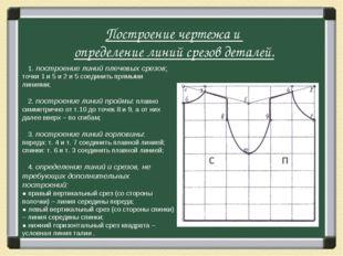 1. построение линий плечевых срезов: точки 1 и 5 и 2 и 5 соединить прямыми л