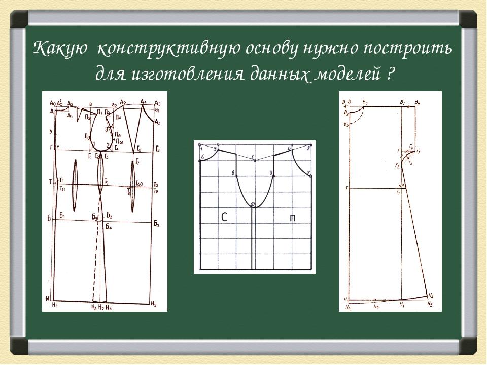 Какую конструктивную основу нужно построить для изготовления данных моделей ?
