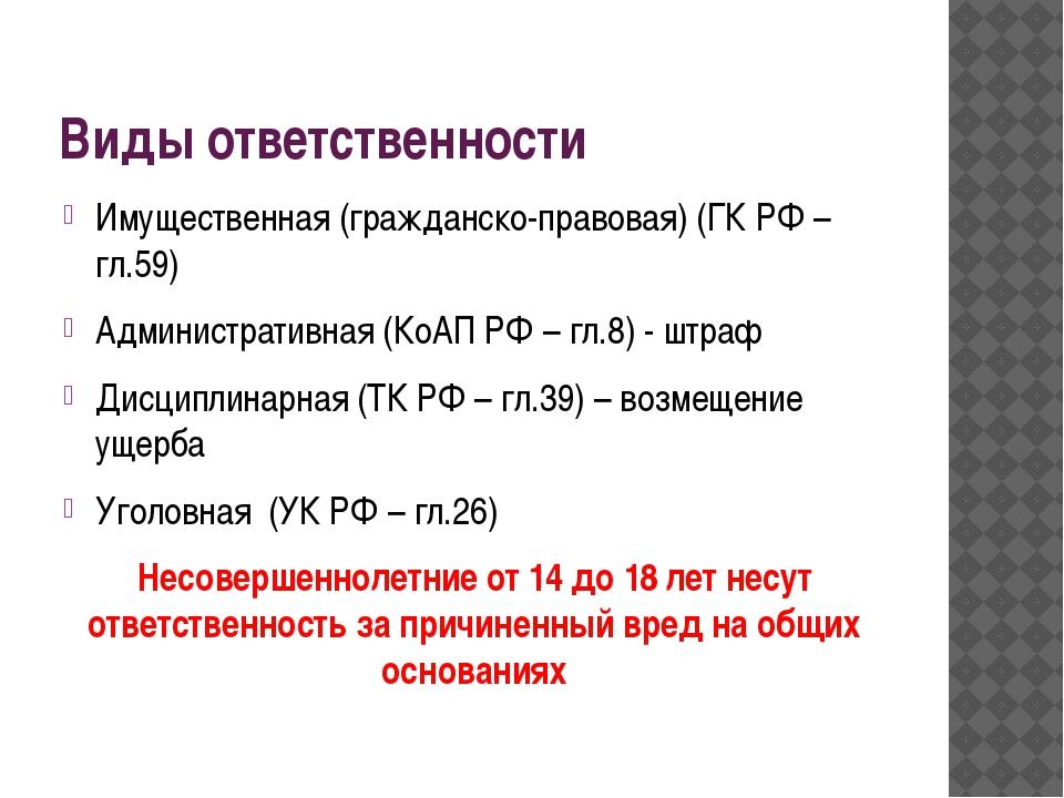 Виды ответственности Имущественная (гражданско-правовая) (ГК РФ –гл.59) Админ...