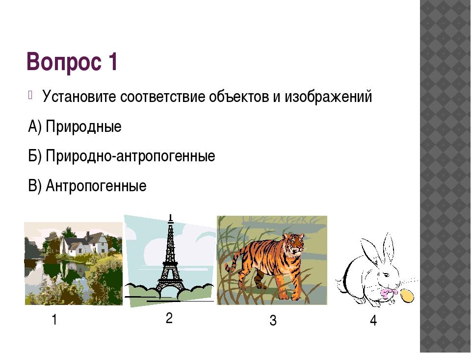 Вопрос 1 Установите соответствие объектов и изображений А) Природные Б) Приро...