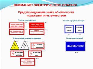 Предупреждающие знаки об опасности поражения электричеством Плакаты запрещающ