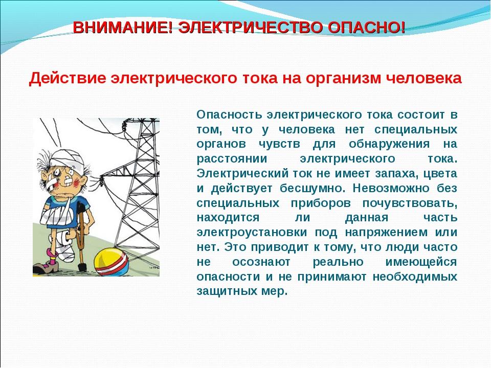 Действие электрического тока на организм человека Опасность электрического то...