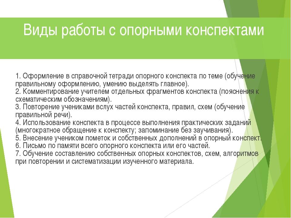 1. Оформление в справочной тетради опорного конспекта по теме (обучение прав...
