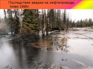 Последствия аварии на нефтепроводе. Коми 1996г.