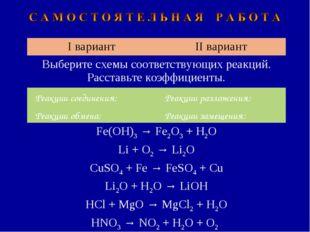 I вариантII вариант Выберите схемы соответствующих реакций. Расставьте коэфф