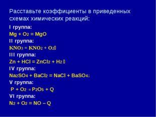 Расставьте коэффициенты в приведенных схемах химических реакций: I группа: Mg