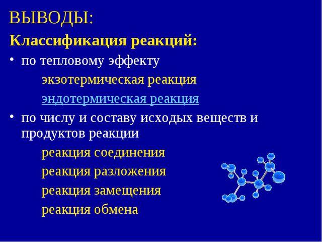 ВЫВОДЫ: Классификация реакций: по тепловому эффекту экзотермическая реакция...