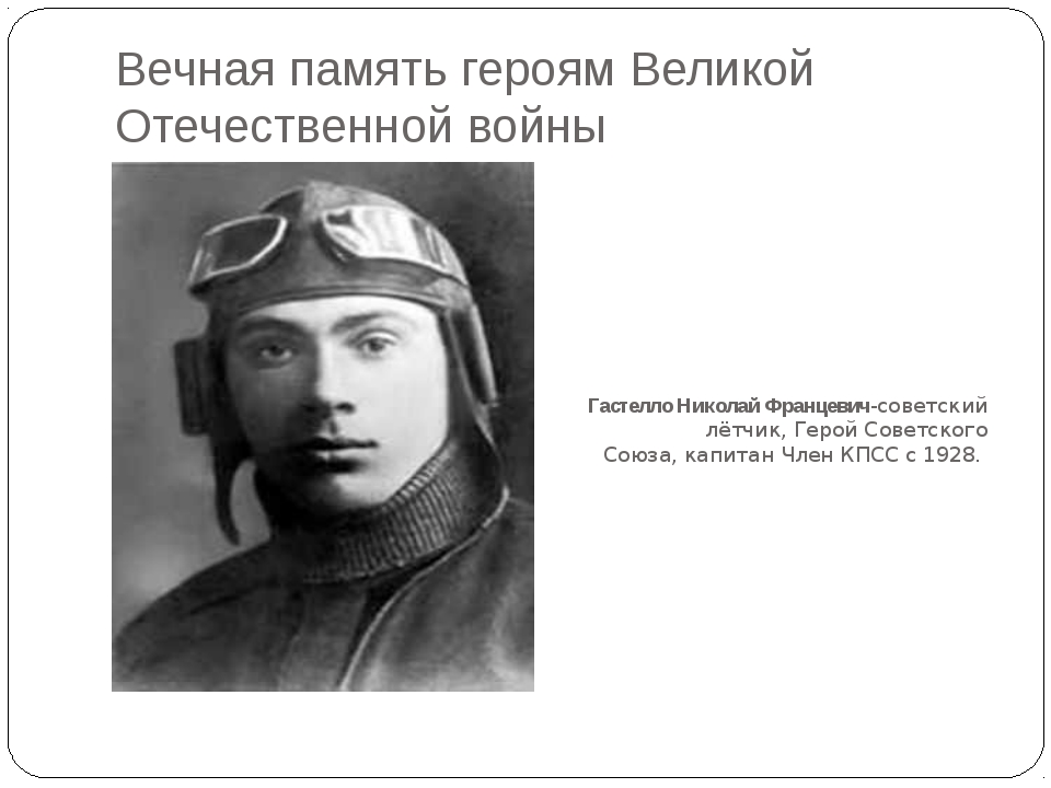 Вечная память героям Великой Отечественной войны Гастелло Николай Францевич-с...