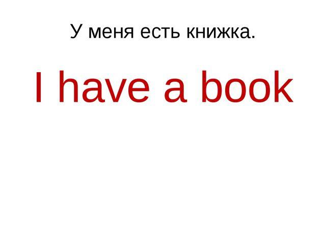 У меня есть книжка. I have a book