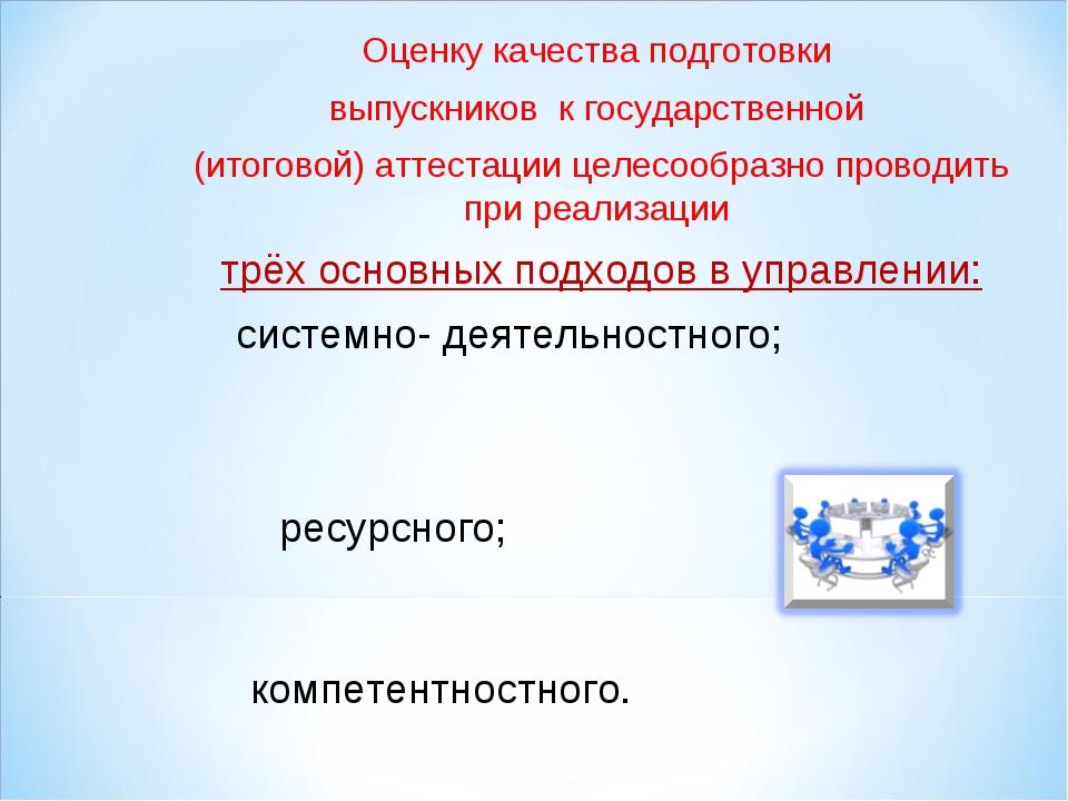 Оценку качества подготовки выпускников к государственной (итоговой) аттестаци...