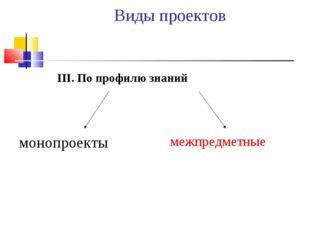 Виды проектов III. По профилю знаний монопроекты межпредметные