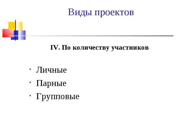 Виды проектов IV. По количеству участников Личные Парные Групповые
