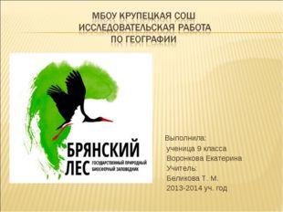 Выполнила: ученица 9 класса Воронкова Екатерина Учитель: Беликова Т. М. 2013