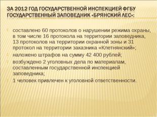 составлено 60 протоколов о нарушении режима охраны, в том числе 16 протокола