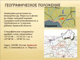 Заповедник расположен на междуречье рр. Неруссы и Десны на северо-западной о
