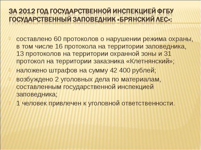 составлено 60 протоколов о нарушении режима охраны, в том числе 16 протокола...