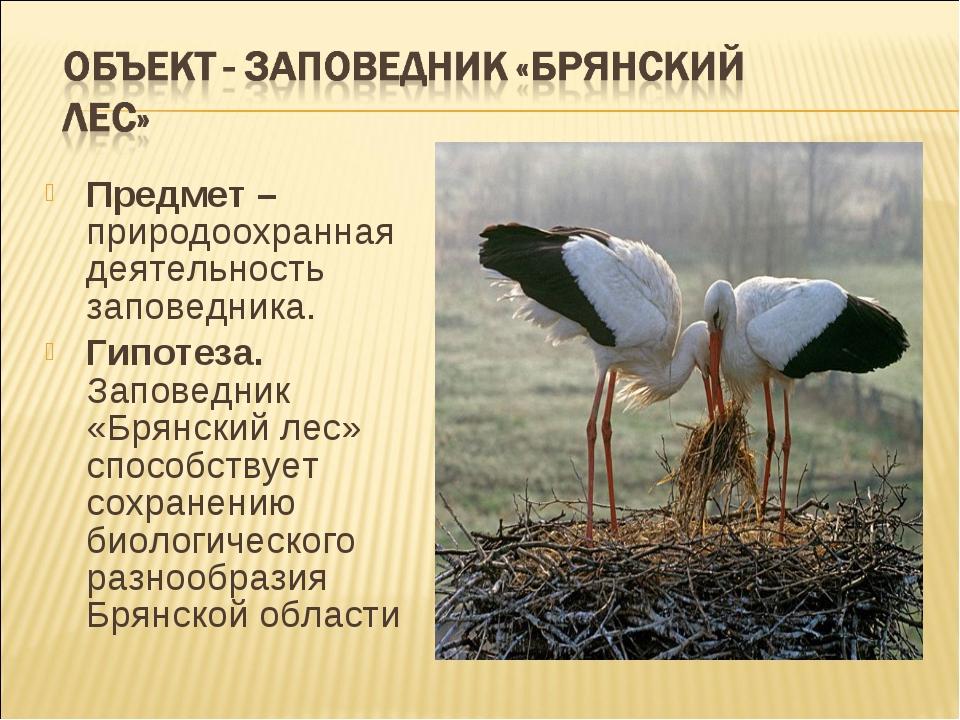 Предмет – природоохранная деятельность заповедника. Гипотеза. Заповедник «Бря...
