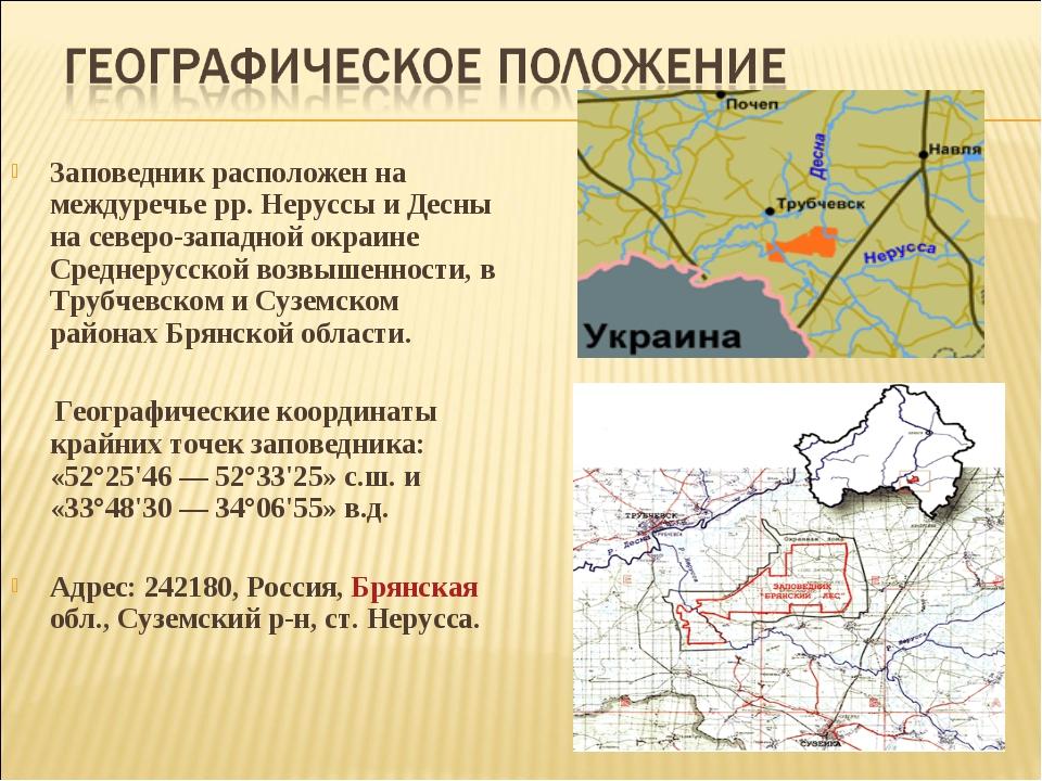 Заповедник расположен на междуречье рр. Неруссы и Десны на северо-западной о...