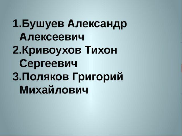 Бушуев Александр Алексеевич Кривоухов Тихон Сергеевич Поляков Григорий Михайл...