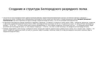 Создание и структура Белгородского разрядного полка На юге России была провед