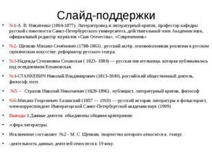 Слайд-поддержки №1-А. В. Никитенко (1804-1877). Литературовед и литературный