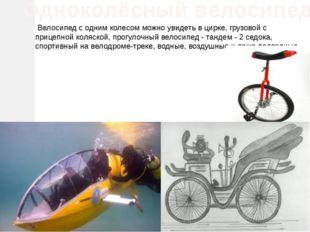 Велосипед с одним колесом можно увидеть в цирке, грузовой с прицепной коляск