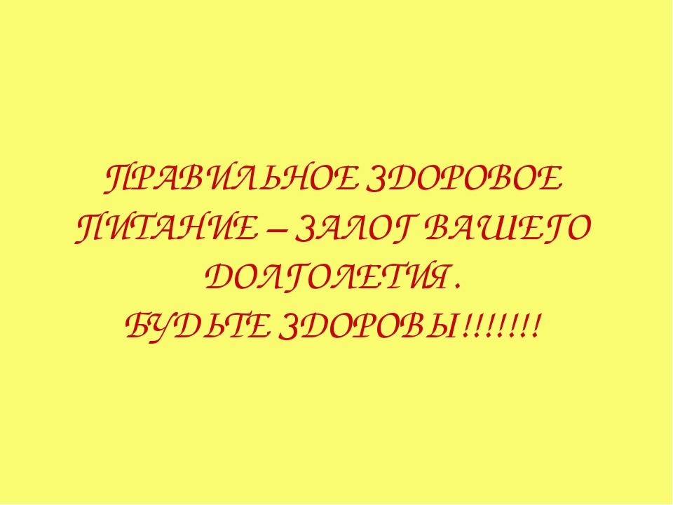 ПРАВИЛЬНОЕ ЗДОРОВОЕ ПИТАНИЕ – ЗАЛОГ ВАШЕГО ДОЛГОЛЕТИЯ. БУДЬТЕ ЗДОРОВЫ!!!!!!!