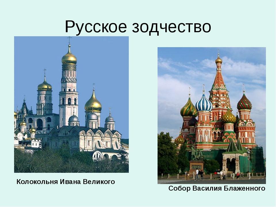 Русское зодчество Колокольня Ивана Великого Собор Василия Блаженного