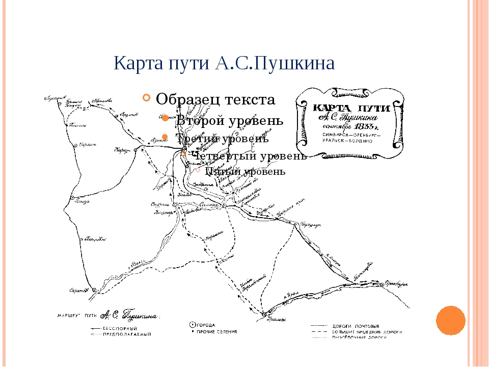 Карта пути А.С.Пушкина