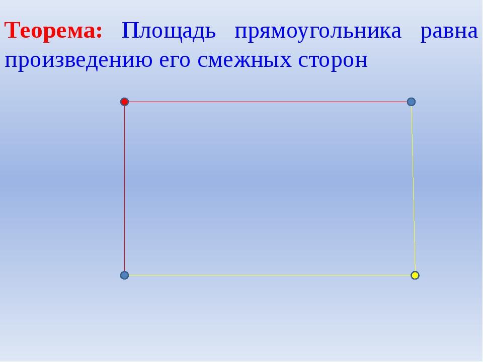 Теорема: Площадь прямоугольника равна произведению его смежных сторон