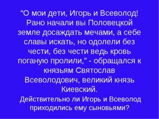 """""""О мои дети, Игорь и Всеволод! Рано начали вы Половецкой земле досаждать меча"""