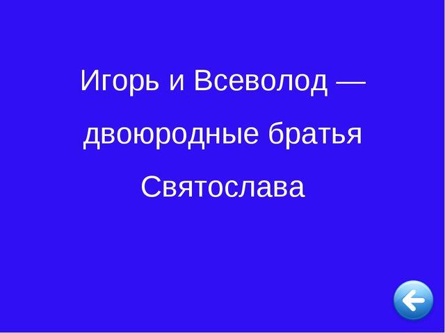 Игорь и Всеволод — двоюродные братья Святослава