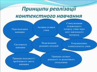 Персоналізація навчання Активна позиція учнів Стимулювання пізнавального інте