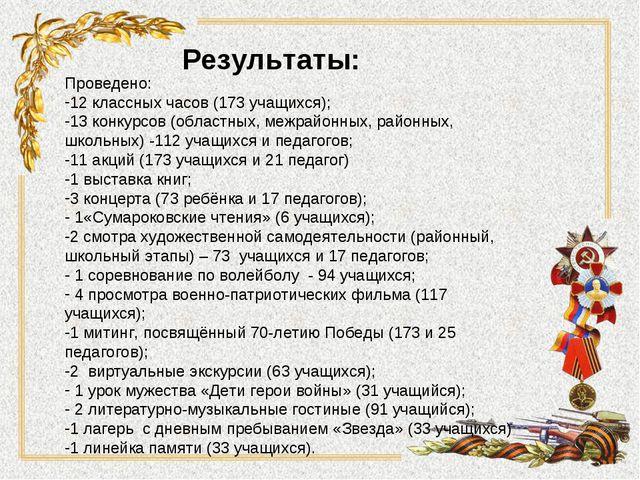 Результаты: Проведено: 12 классных часов (173 учащихся); 13 конкурсов (област...