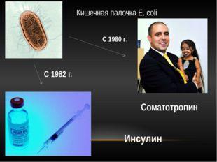 Кишечная палочка E. coli Соматотропин Инсулин С 1980 г. С 1982 г.