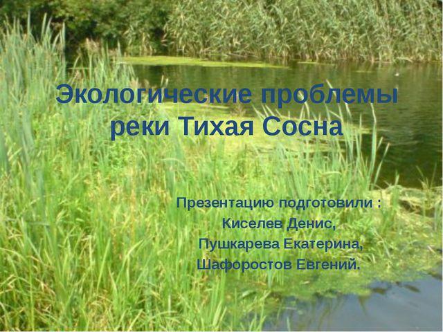 Экологические проблемы реки Тихая Сосна Презентацию подготовили : Киселев Ден...