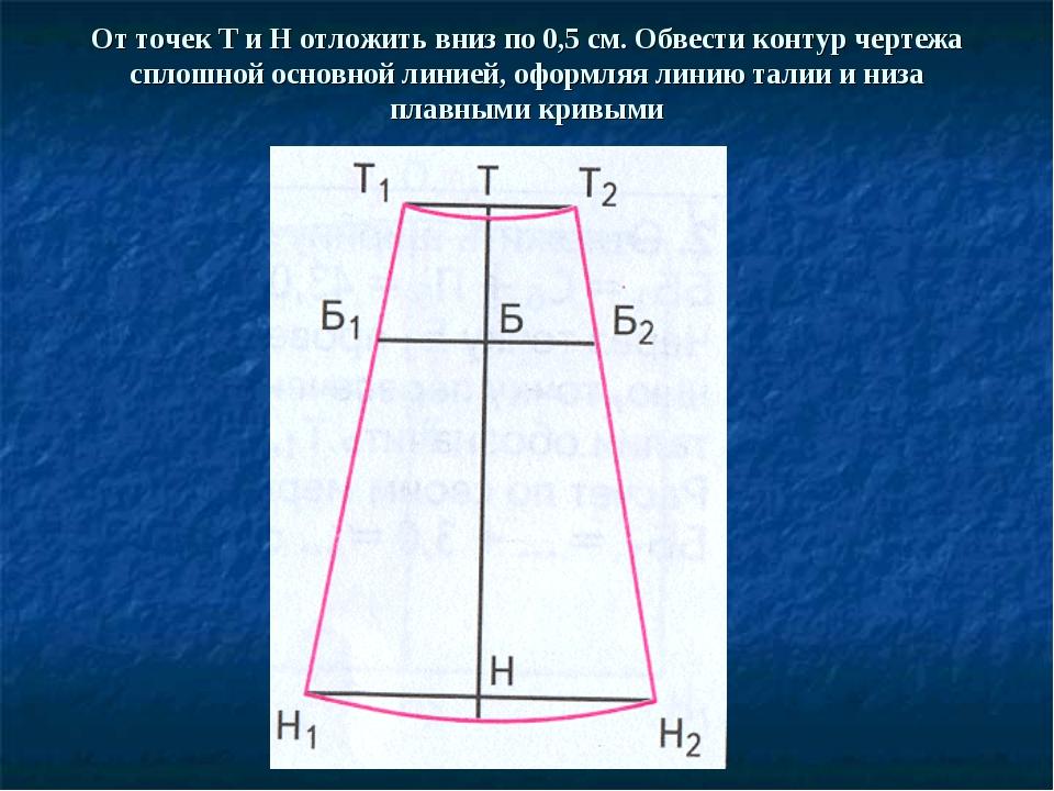 От точек Т и Н отложить вниз по 0,5 см. Обвести контур чертежа сплошной основ...