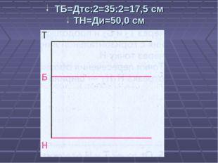 ТБ=Дтс:2=35:2=17,5 см ТН=Ди=50,0 см