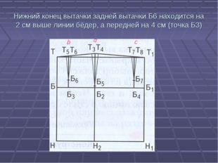 Нижний конец вытачки задней вытачки Б6 находится на 2 см выше линии бёдер, а