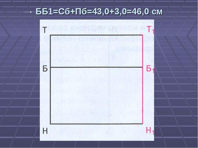 ББ1=Сб+Пб=43,0+3,0=46,0 см