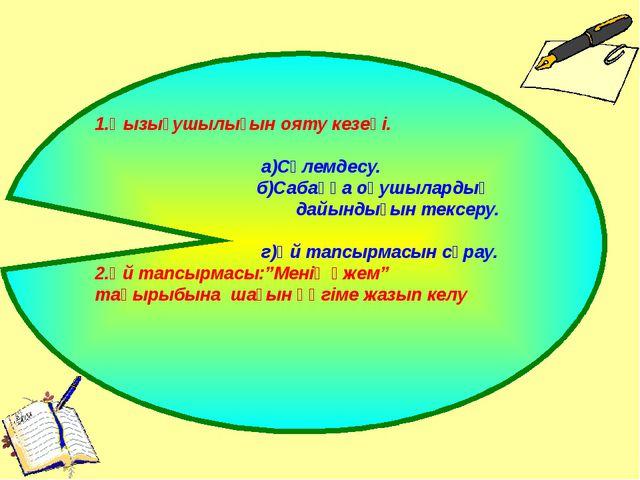 1.Қызығушылығын ояту кезеңі. а)Сәлемдесу. б)Сабаққа оқушылардың дайындығын те...