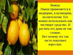 Вывод: Лимон применяется в медицине, в кулинарии, косметологии. Его можно ис
