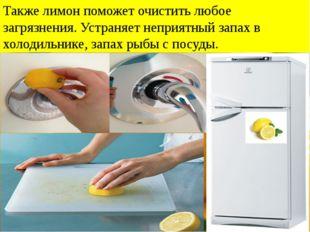 Также лимон поможет очистить любое загрязнения. Устраняет неприятный запах в