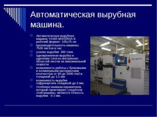 Автоматическая вырубная машина. Автоматическая вырубная машина YAWA MW1050A-I