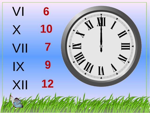 VI X VII IX XII 10 9 6 7 12