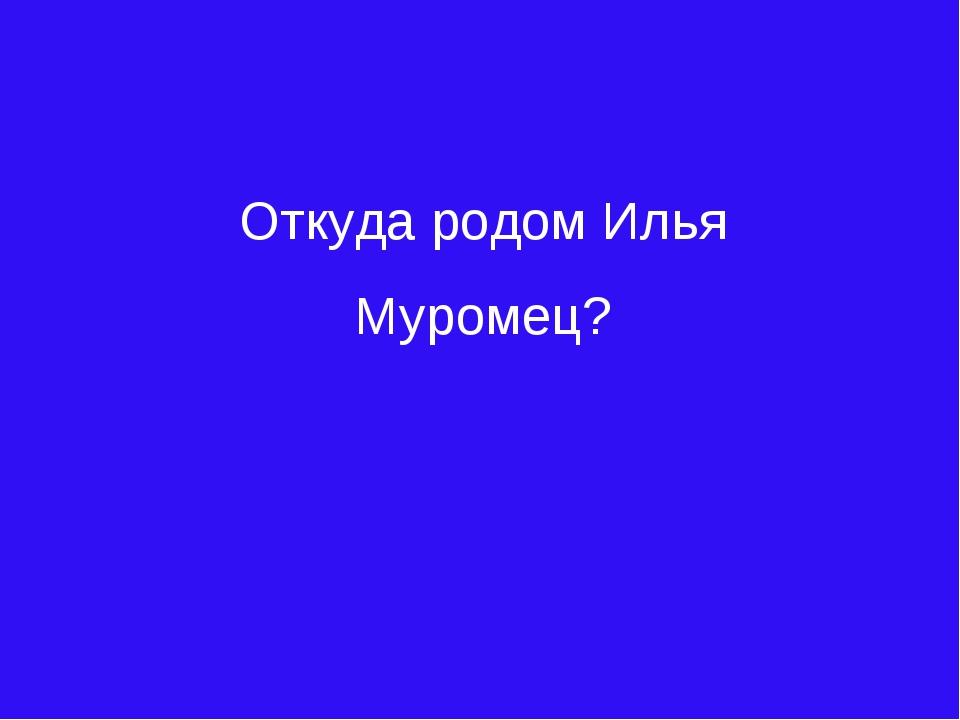 Откуда родом Илья Муромец?