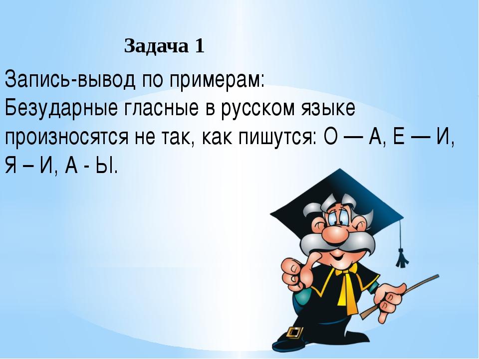 Запись-вывод по примерам: Безударные гласные в русском языке произносятся не...