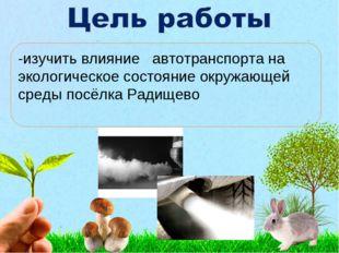 -изучить влияние автотранспорта на экологическое состояние окружающей среды
