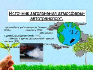 Источник загрязнения атмосферы-автотранспорт. -автомобили, работающие на бенз